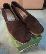 New listing 7.5 Vintage Grasshoppers 1970s Dark Brown Suede Espadrille Slip-On Loafer Wedge