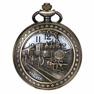 Retro Bronze Antique Train Pattern Analog Quartz Pocket Watch Necklace Pendant