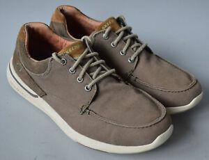 Men's Dark Beige/Grey Skechers Relaxed Fit Elent - Arven Casual Boat Shoe UK 11.