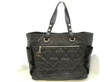 Auth CHANEL Paris Biarritz Tote GM A34210 Black Coated Canvas Nylon &  Leather