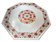 """30"""" White Marble Coffee Table Top Carnelian Floral Inlay Dining Room Decors W040"""