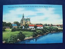 View along Nashua River N.H. St. Francis Xavier Church Linen Postcard Near-Mint
