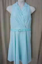 Evan Picone Dress Sz 14 White Blue Sleeveless Belted Waist Cocktail Evening