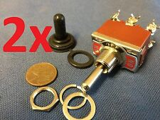 2x waterproof DPDT Momentary-Off-Momentary ON/OFF/ON Toggle Switches 15A 1/2""