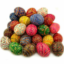 Hand Painted Assorted Colors Set of 50 Pieces Colorful Ukrainian Pysanky Eggs