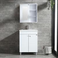 "White 24"" Bathroom Vanity Wood w/ Sink Set &Wall Mount Mirrored Medicine Cabinet"