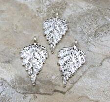 Set of Three (3) Pewter Birch Leaf Charms/Pendants - 0395