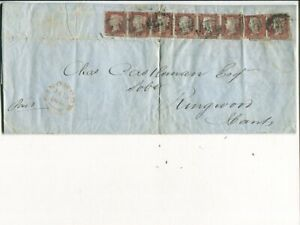 Great Britain 8x1d on cover from Sothampton to Ringwood 1847