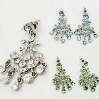 """MAYCO 1.75"""" GLAMOR CLEAR BLUE or GREEN CRYSTAL DROP SILVER CUSHION EARRINGS NEW"""
