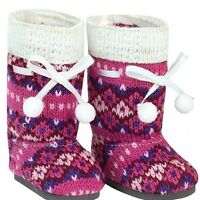 """Doll Clothes 18"""" Boots Knit Pink Hot Pink Fits American Girl Dolls"""