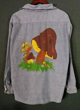 Vintage Chambray Shirt Mushrooms Frog Painted Ely 70s Unisex Size 16