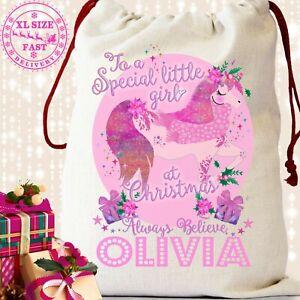 Unicorn Pink Sack Christmas Xmas Reindeer Bag Stocking Gift Personalised Girls