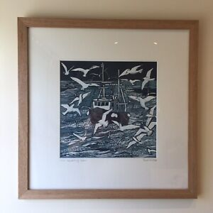 "ORIGINAL ART REDUCTION LINO CUT  ""HEADING HOME"" SOLID OAK FRAME 10/10 PAINTING"