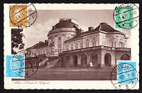 1931 German postcard displaying four stamps on picture side Stuttgart to Belgium