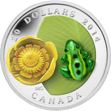 Canada 2014 Leopard Frog and Lilly Murano Venetian Glass $20 Silver Proof Coin
