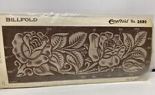 Vintage 50s Craftaid Rose Floral Leaves Leather Billfold Pattern#2680