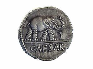 The Caesarians. Julius Caesar AR Silver Denarius Roman Coin - 19mm, 3.3gr