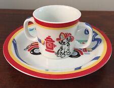 Tiffany & Co. Fire Station Set Dalmatian Mug & Fire Truck Plate Red Trim 2004