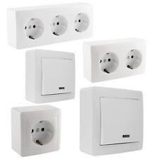 Aufputz Steckdose 1/2/3 Fach Aufputz Schalter Steckdosen Innenbereich weiß LED