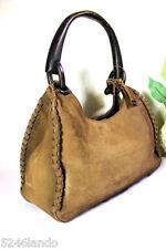 Vintage GUCCI Suede Leather Light Brown Western Style Wood Hobo Shoulder Bag