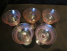 Antique 5 Fry Glass Pink Goblets needlepoint Etch Ribbed Paneled Elegant 4 Oz.