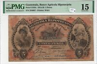 Guatemala PMG Certified Banknote 1914 5 Pesos Choice Fine 15 Pick S102c W&S