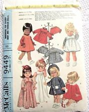 "9449 McCALLS SEWING PATTERN~1968~BABY/TODDLER 12""-16"" DOLL CLOTHES~COAT&HAT++"