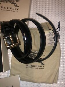 Burberry Black Slim Patent Leather Belt  RRP£268