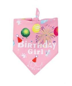 Dog Cat Pet Happy Birthday Bandana Neckerchief scarf Ties Party Pink Girl