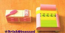 LEGO Custom Furniture PINK BEDROOM SET! Bed Dresser Drawers Modular City Friends