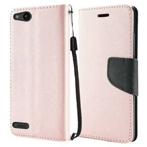 For Consumer Cellular ZTE Avid 557 Wallet Pouch Case Cover + Glass Protector