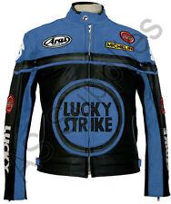 LUCKY STRIKE Veste de Moto en Cuir Blouson Motard - Noir / Bleu