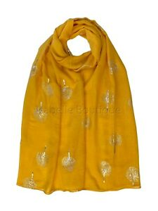 Mulberry Tree Foil Print Scarf Ladies Large Size  Light Weight Hijab Shawl Snood