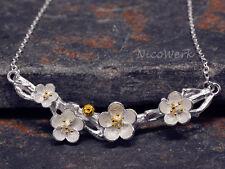 Silberkette mit Anhänger Blumen Halskette Damen Schmuck 925 Silber Kette