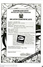 Alan Moore Swamp Thing #53 Rare Death Certificate featuring Batman