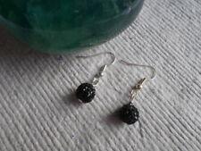 Handmade ~ Earrings ~ 8mm Black  ~ Disco ~ Shambala Beads