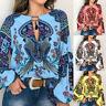 Women Boho Floral V-Neck Long Lantern Sleeve Ladies Oversize Blouse T-Shirt Tops