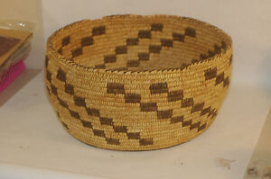 "Xtra Large Antique Pima Woven Basket 16"" diameter"