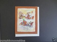 Vintage Unused Xmas Greeting Card Family Riding on Horse Drawn Carraige in Snow