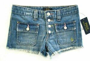 Polo Ralph Lauren Girls Spring IV Blue Front & Back Flap Pockets Cutoff Shorts