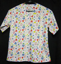 XS Natural Uniforms Scrub Top White With Red Blue Green and Yellow Hearts