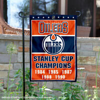 Edmonton Oilers 5 Time Stanley Cup Champions Garden Flag and Yard Banner