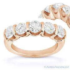 Forever Brilliant Round Cut Moissanite 14k Rose Gold 5-Stone Ring Wedding Band