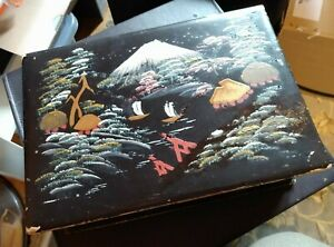 VINTAGE ORIENTAL handpaint JAPANESE LACQUERED WOOD BOOK BOX , mount fuji  20/30S