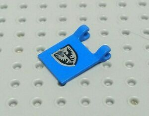 Lego Flag 2x2 with Clips +Print: Black Falcon Shield [2335p43] Blue x1 - Smudged