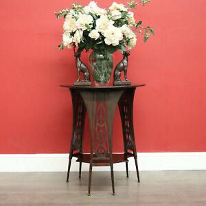 Antique Art Nouveau Lamp Table, Antique Two Tier Tri-leg Fretwork Side Table