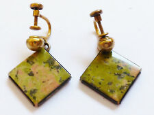 1/20 14K YELLOW GOLD PLATE STERLING SILVER UNAKITE SQUARE SCREW CLIP EARRINGS