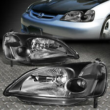FOR 01-03 HONDA CIVIC BLACK HOUSING CLEAR CORNER HEADLIGHT REPLACEMENT HEADLAMP
