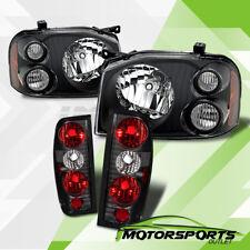 For 2001 2002 2003 2004 Nissan Frontier Black Headlights+Rear Brake Tail Lights