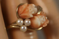 HEAVY VINTAGE 14K  YELLOW GOLD PINK ANGEL SKIN CORAL PEARL ROSE FLOWER RING 6.5